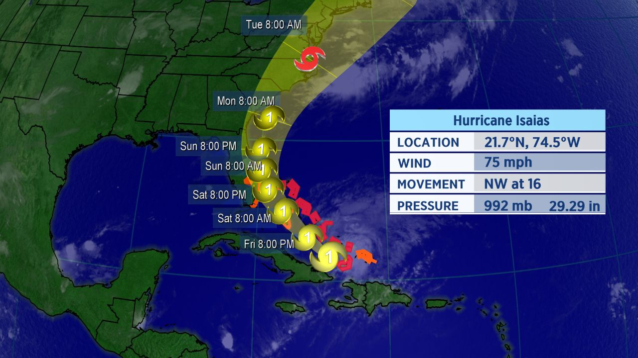 Parts of Florida Under Hurricane Watch as Isaias Nears